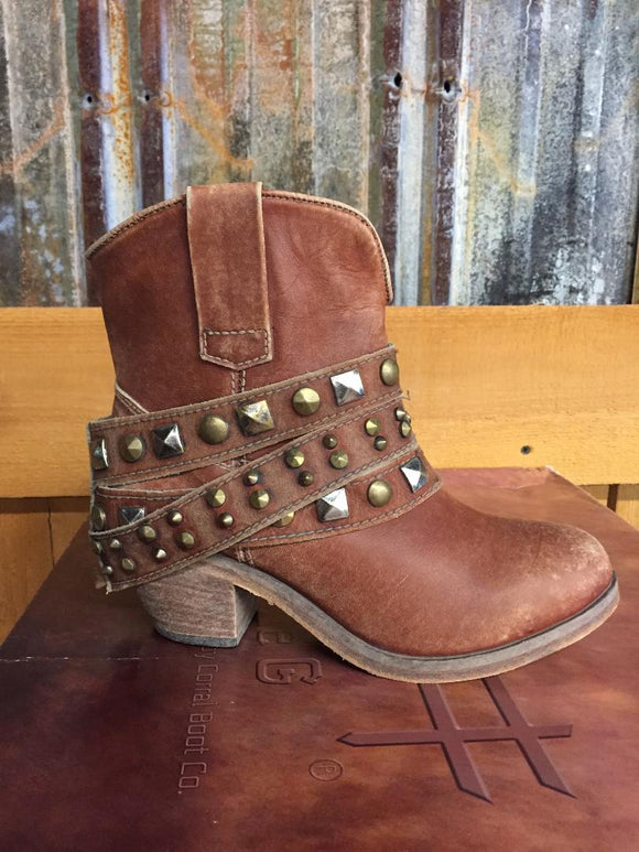 Circle G Womens Cognac Studded Strap Ankle Boots P5042