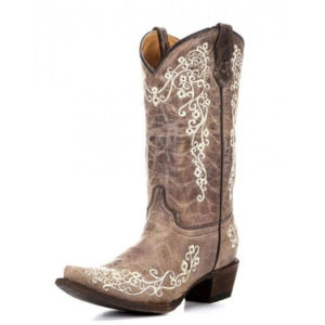 Corral Girls Youth Brown Bone Embroidery Boots A2773