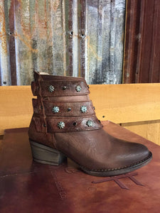 Circle G Womens Cognac Harness & Studs Ankle Boots Q5058