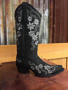 Circle G Womens Black Floral Embroidery Western Boots L5411