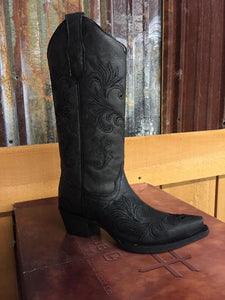 Circle G Womens Black Filigree Western Boots L5142