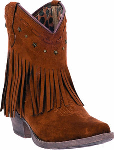 "CLOSEOUT-Dingo Womens Cassidy 7"" Rust Fringe Shorty Boots DI 7448"