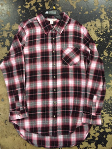 Cumberland Outfitters Womens Pink and Black Plaid L/S  Western Shirt 15321029-99A