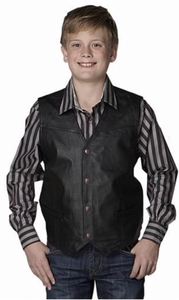 Cripple Creek Boys' Black Leather & Canvas Snap Front Vest    MLK1059