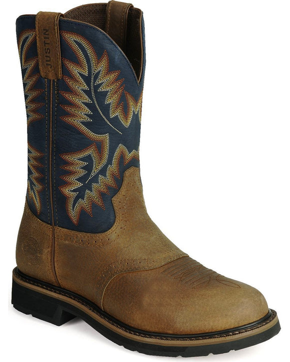 Justin Mens Superintendent Blue Pull On Round Toe Workboots  WK4665
