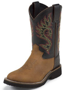 CLOSEOUT-Justin Kids Coffee/Black Westerner Boots  5018C