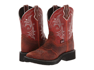 CLOSEOUT-Justin Womens Gypsy Redwood Buffalo Square Toe Boots L9616