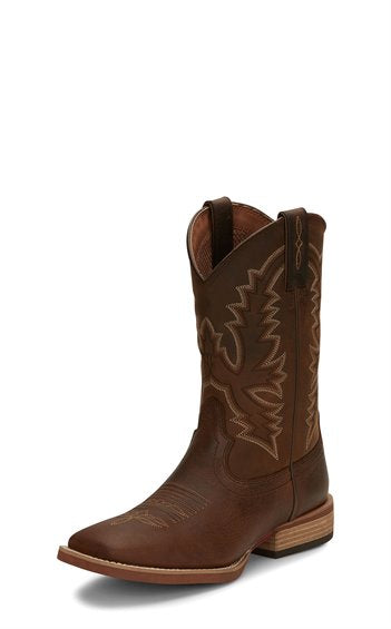 Justin Mens Tallyman Brown Sq Toe western Boots 7318