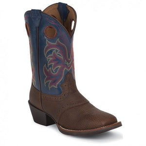 Justin Kids Stampede Blue Jean Dusty Western Boots  2520JR