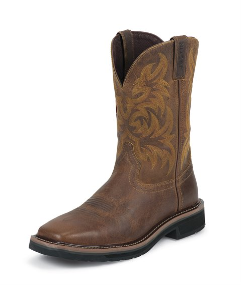 Justin Mens Stampede Pull On Square Toe Workboots  WK4822