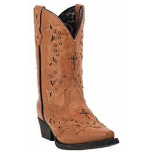 CLOSEOUT-Laredo Girls Cross and Studs Tan Western Boots  LC2283