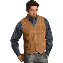 Liberty Wear Mens Suede Western Vest  252 Tobacco