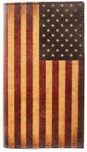 Nocona Vintage Leather US Flag Rodeo Wallet by M&F      N5416497