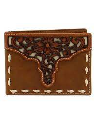 M&F Mens Ariat Bifold Removeable Passcase Tooled Overlay Stitch   A3547344