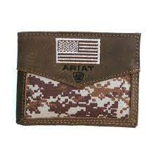 M&F Western Ariat Mens Digi Bifold Wallet Digital Camo Center With Brown Edges - A3536844