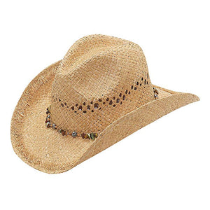 M&F Womens Western Bead/Flower Straw Hat  71044