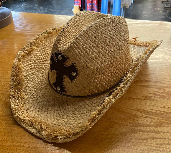 M&F Womens Raffia/Cross Straw Hat  71042