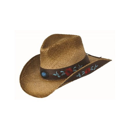 Outback Trading Womens Harmony Bay Floral Raffia Straw Hat  (Tea 15131)