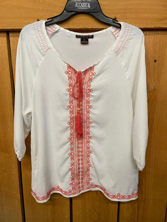 Rock And Roll Cowgirl Womens White With Coral Embroidery Shirt B4-6387