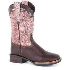 Roper Kids Girls Pink/Brown Leather Monterey Swirls Cowboy Boots  09-018-0912-2572