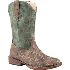 Roper Boys Cross Cut Pull On Brown Western Boots     09-018-1900-0813 BR
