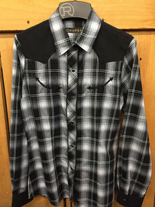 Womens Roper Black And White Western Snap Shirt 150-087-399 BL