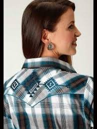 Roper Womens Black,Turquoise,Brown, and White Plaid Snap Shirt 150-016-128 BU