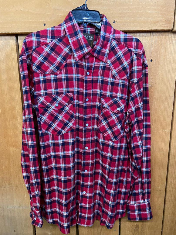 Roper Mens Plaid Snap Shirt  03-001-0522-1685 AS  (Red)