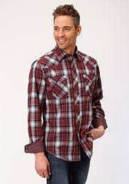 Roper Mens Red White And Black Plaid Long Sleeve Snap Shirt  03-001-0062-0687