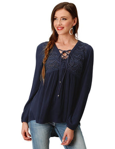 Roper Womens L/S Peasant Empire Blue Shirt 03-050-0592-0728 BU