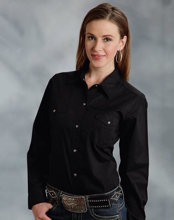 Roper Womens Western Long Sleeve Solid Snap Shirt - Black 03-050-0265-0117