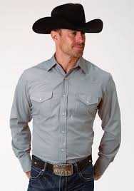 Roper Mens Grey Solid Broadcloth Long Sleeve Snap Western Shirt  101-025-724 GY