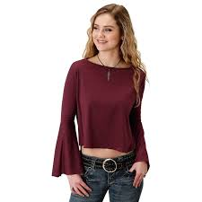 Roper Womens Wine With Horseshoe Print Long Sleeve Shirt 338-513-6078 WI