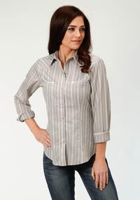 Roper Womens Grey Stripe Long Sleeve Snap Shirt  150-086-105GY