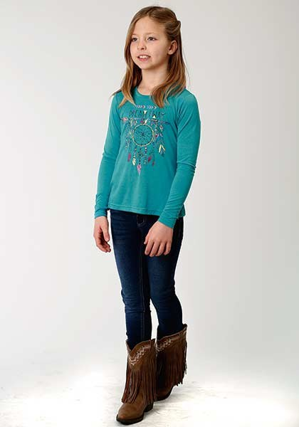 Roper Girls Dreamcatcher Jersey Turquoise Shirt    309-513-168BU