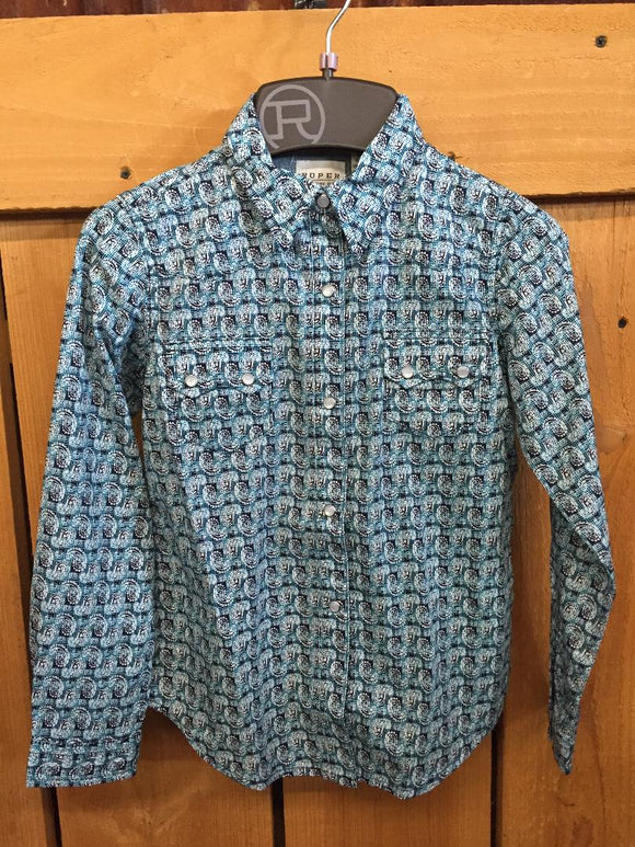 Roper Girls Blue Paisley Print Shirt  03-080-0064-0324 BU