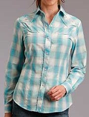 Roper Womens Western Long Sleeve Plaid Snap Shirt  150-016-398BU