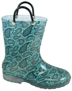 Smoky Mountain Girl's Lightning Turquoise Pvc Boots 2718T / 2718C