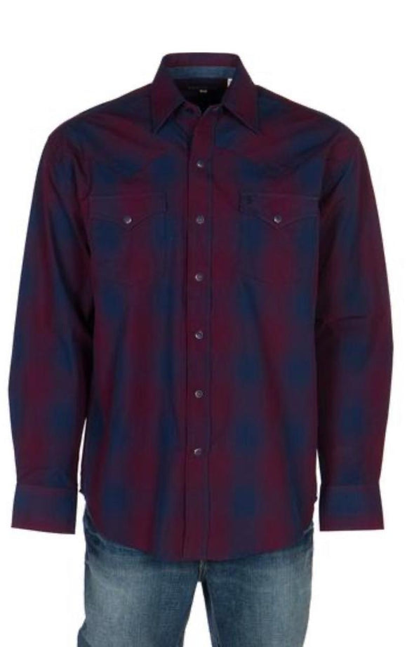 Stetson Mens Burgundy/Navy Plaid Long Sleeve Snap Shirt 11-001-0478-1033 BU