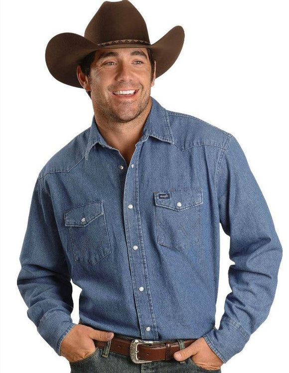 Wrangler Mens Cowboy Cut Long Sleeve Western Denim Snap Work Shirt  70127SW
