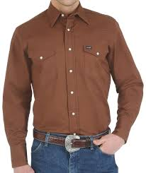 Wrangler Mens Solid Advanced Comfort Long Sleeve Work Shirt  MACW04E