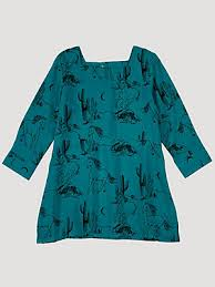 Wrangler Toddler/Girls Three Quarter Sleeve Teal Horse Dress    PQ8200Q