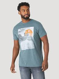 Wrangler Mens Light Blue Desert Graphic Tee   MQ6139Q