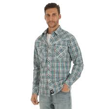 Wrangler Mens Rock 47 Long Sleeve Brown/Turquoise Plaid Snap Shirt  MRC356M