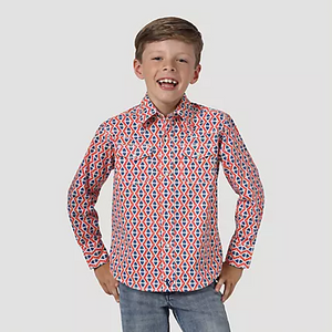 Wrangler Boys 20X Advanced Comfort Western Snap Print Shirt