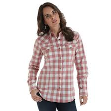 Wrangler Womens Plaid Snap Down Shirt Blush Pink  LW7213M