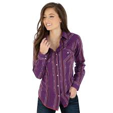 Wrangler Womens Plum Western Printed Snap Up Western Shirt LW8231M