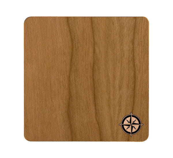 Compass Wood and Metal Coaster Set of 4