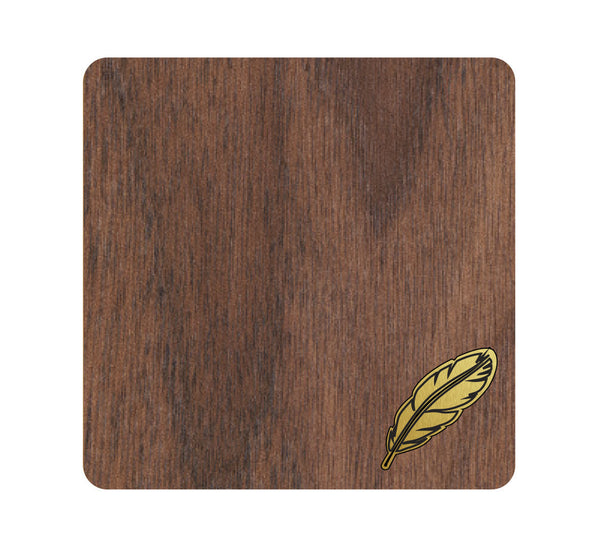 Feather Wood and Metal Coaster Set of 4