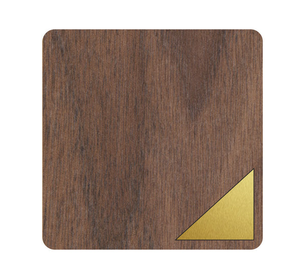 Triangle Wood and Metal Coaster Set of 4
